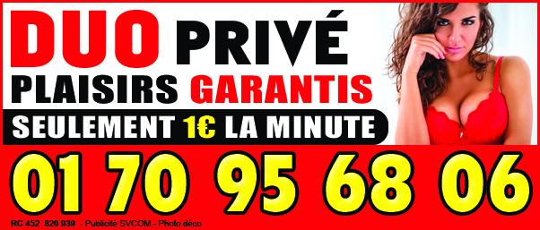 Duo privé au 01 70 95 68 06 1€ la minute seulement