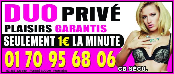 Duo privé Plaisirs garantis au 01 70 95 68 06 pour seulement 1€ de la minute