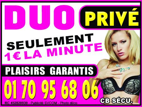 Duo privé au 01 70 95 68 06 1€ la minute CB sécurisée